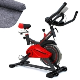 Sportstech Profi Indoor Cycle SX100 mit 13KG Schwungrad, Gepolsterter Armauflage, Komfortsattel, Pulsmessung – Speedbike mit flüsterleisem Riemenantrieb – Bodenschutzmatte gratis