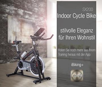 Sportstech Profi Indoor Cycle SX200 mit Smartphone App+Google Street View, 22KG Schwungrad,Armauflage,Pulsgurt kompatibel-Speedbike mit flüsterleisem Riemenantrieb-Fahrrad Ergometer bis 125Kg -
