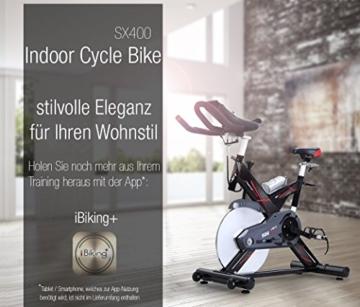 Sportstech Profi Indoor Cycle SX400 mit Smartphone App+Google Street View,22KG Schwungrad,Armauflage,Pulsgurt kompatibel-Speedbike mit flüsterleisem Riemenantrieb-Fahrrad Ergometer bis 150Kg -